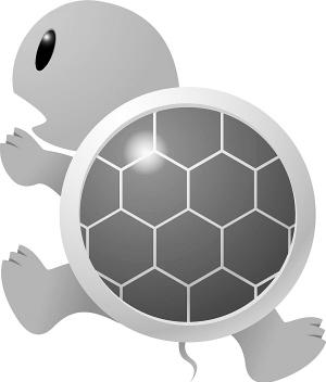 背着一个灰黑色的大硬壳,三角形的脑袋上能看到一个小鼻子,小鼻子下面