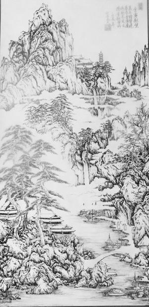 河流钢笔手绘图